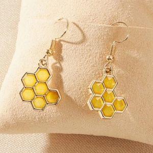 Gold honeycomb drop earrings